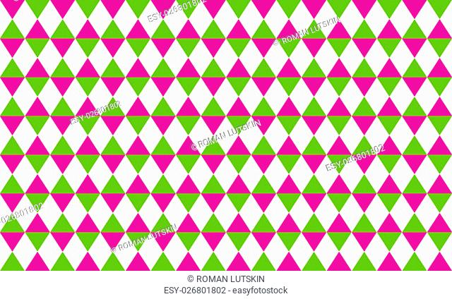 Abstract geometric seamless pattern of rhombus in pink, green and white colors
