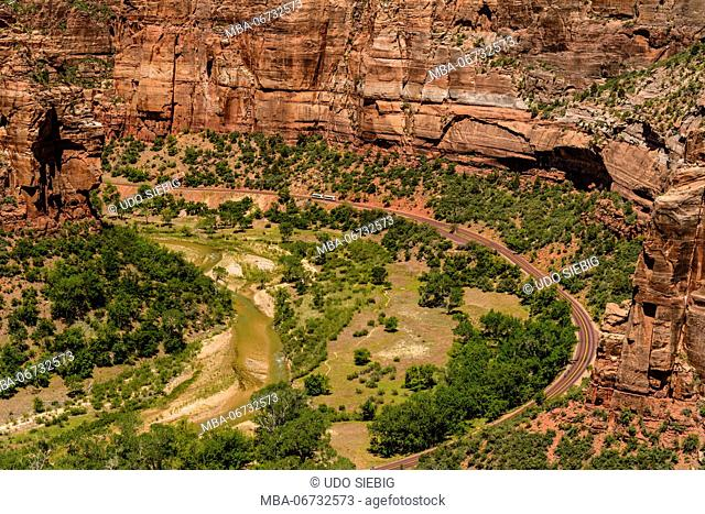 The USA, Utah, Washington county, Springdale, Zion National Park, Zion canyon, Virgin River at Big Bend, view from observation Point Trail