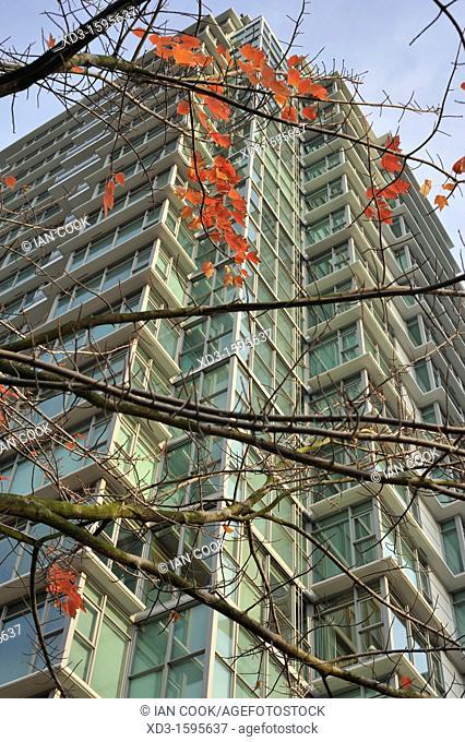 High rise condominium tower in autumn, Georgia Street, Vancouver, British Columbia, Canada