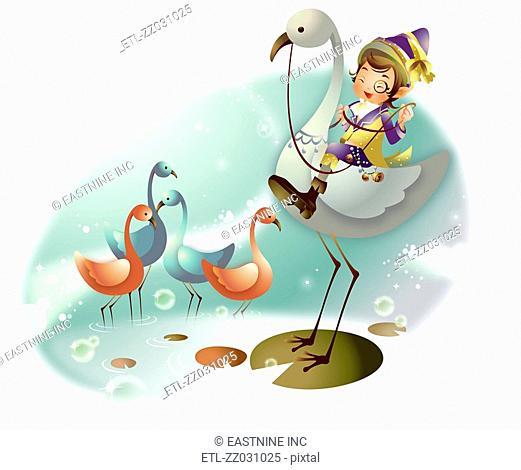 Boy riding a flamingo