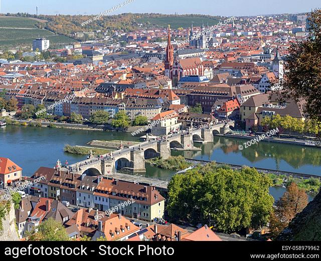 aerial view of Wuerzburg, a franconian city in Bavaria, Germany
