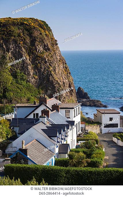 UK, Northern Ireland, County Antrim, Portbradden, elevated village view on White Park Bay