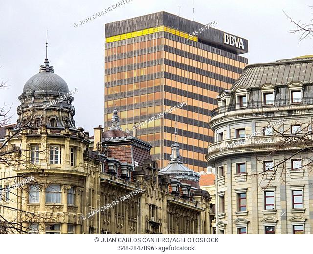 Fachadas de edificos. Bilbao. Vizcaya. Basque Country. Spain. Europa