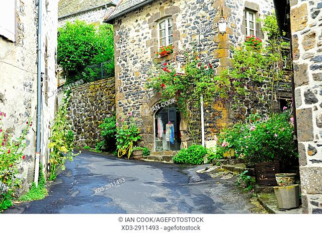 narrow street, Salers, Cantal Department, Auvergne, France