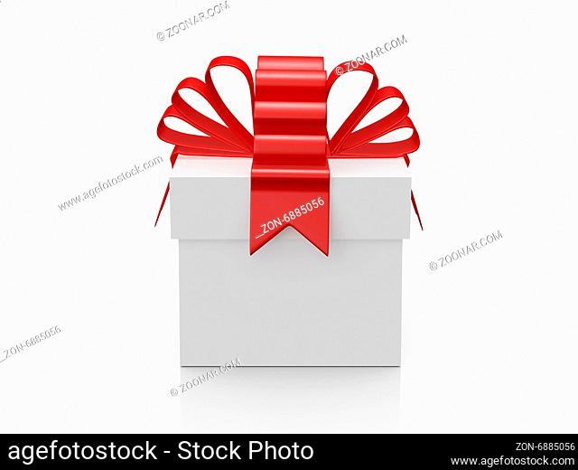 Single white gift box with red ribbon, front view, isolated on white background