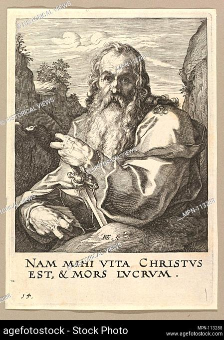 St. Paul, from Christ, the Apostles and St. Paul with the Creed. Artist: Hendrick Goltzius (Netherlandish, Mühlbracht 1558-1617 Haarlem); Date: ca