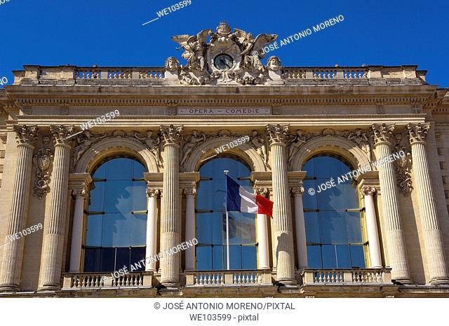 Opera building at Place de la Comedie, Montpellier, Herault, Languedoc-Roussillon, France