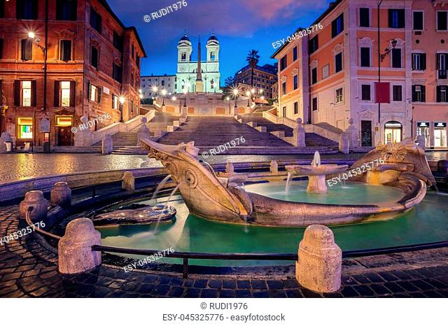 Cityscape image of Spanish Steps in Rome, Italy during sunrise