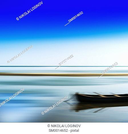 Horizontal vivid vibrant travel boat blur abstraction background backdrop