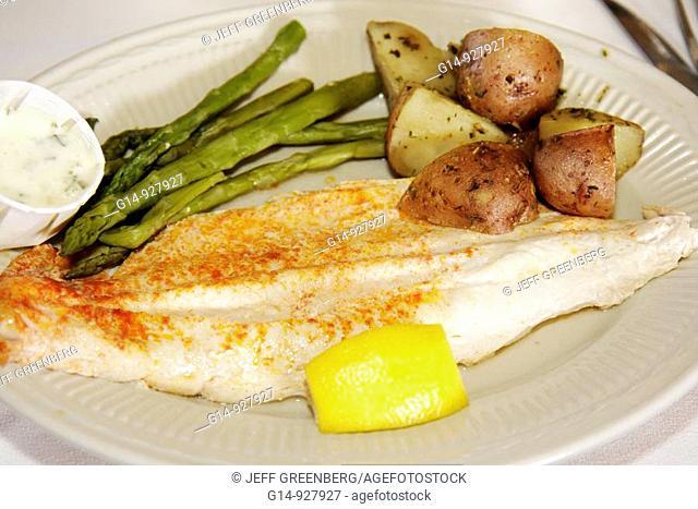 Michigan, Upper Peninsula, U P , UP, Au Train, The Brownstone Inn, restaurant, food, plate, whitefish, fish, broiled, asparagus, potatoes, lemon wedge