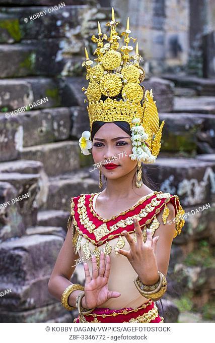 Cambodian Apsara dancer in Angkor Wat , Siem Reap Cambodia