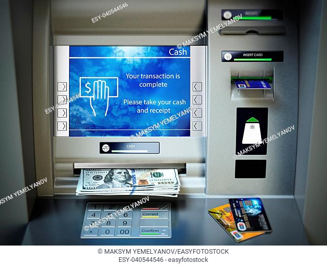 ATM machine, money cash and credit cards. Withdrawing dollar banknotes. 3d illustration