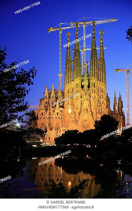 Spain, Catalonia, Barcelona, Sagrada Familia by Architect Antonio Gaudi listed as World Heritage by UNESCO