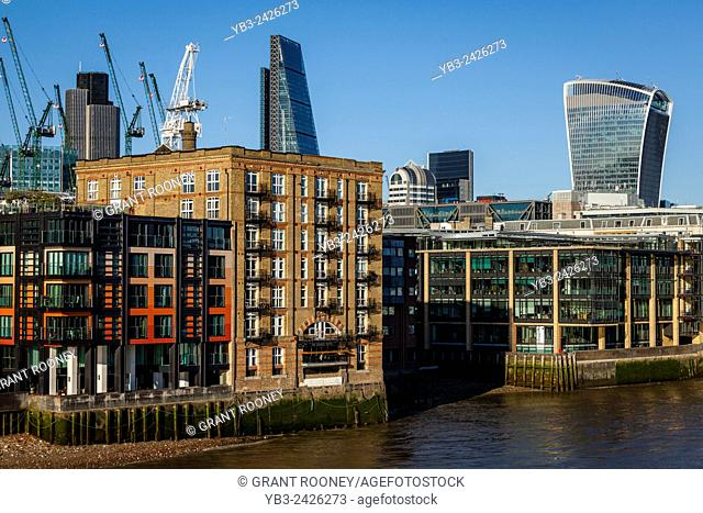 Riverside Properties and The City of London Skyline, London, England