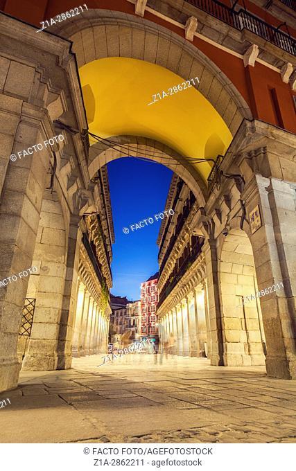 Ciudad Rodrigo street, one of the entrances to Plaza Mayor. Madrid, Spain