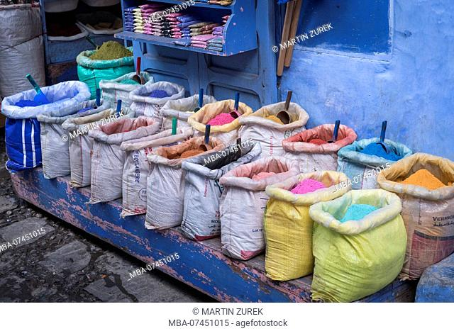 Moroccan natural colors at a sales booth in Chefchaouen, North Africa, Africa