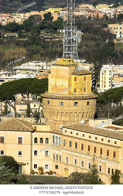 Administration building and radio masts at Vatican City for Vatican radio broadcasting, Rome, Lazio, Italy