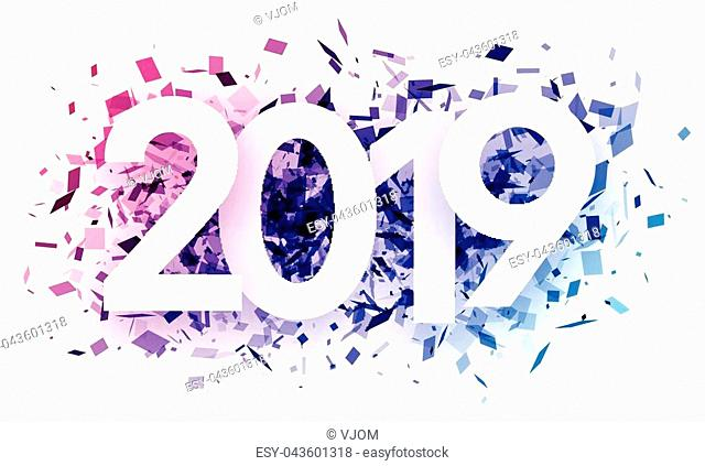 White 2019 new year background with purple spectrum paper confetti. Vector paper illustration