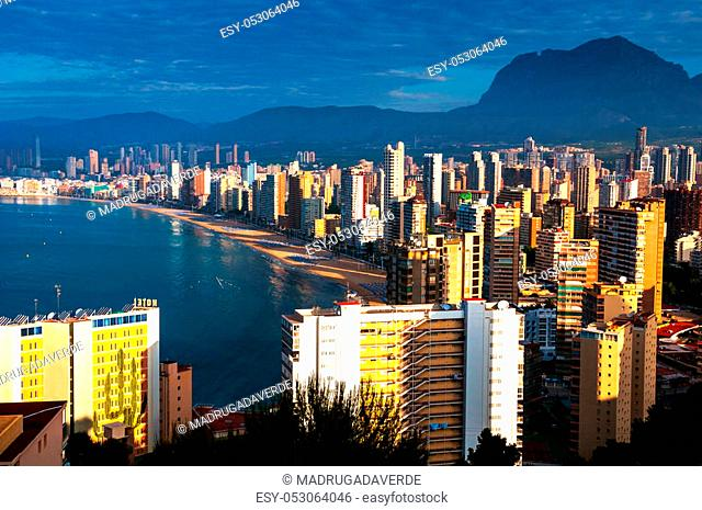 View from mountain at the city of Benidorm, Costa Blanca, Spain taken in the early morning
