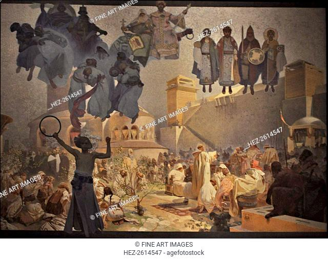 The Introduction of the Slavonic Liturgy (The cycle The Slav Epic). Artist: Mucha, Alfons Marie (1860-1939)
