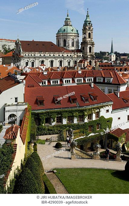 Church St. Nicolaus, in front Vrtba Garden, baroque gardens, UNESCO World Heritage Site, Mala Strana, Prague, Czech Republic