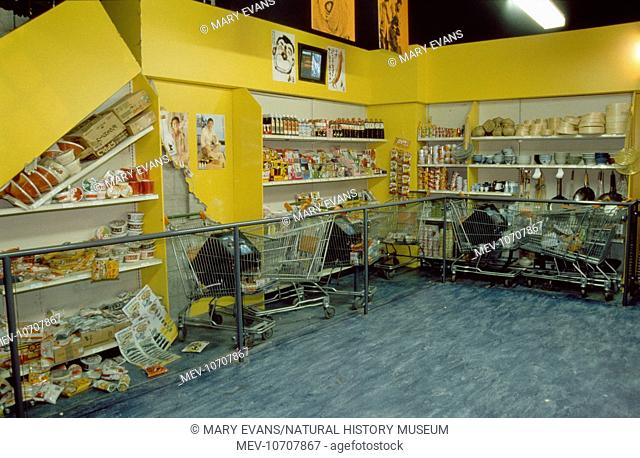 Exhibition of a supermarket in Kobe, Japan during the earthquake of 17 January 1995. Exhibition at the Natural History Museum, London which opened in July 1996