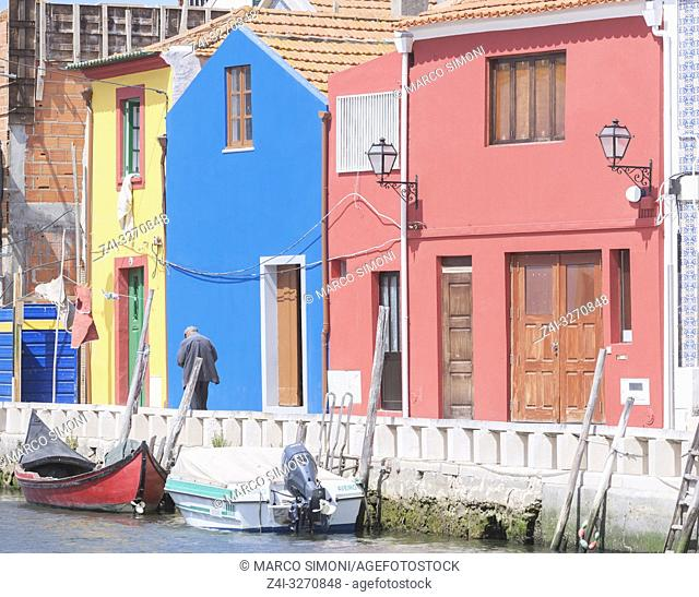 Traditional houses on a river canal, Aveiro, Beira Litroral, Portugal