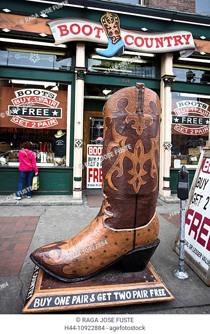 USA, United States, America, Tennessee, Nashville, advertisement, big, boot, downtown, famous, Cowboy, western, shop, souvenir, touristic, tourism, traditional