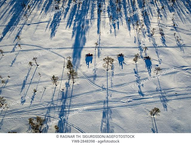 Snowmobiles, Lapland, Sweden. Drone photography