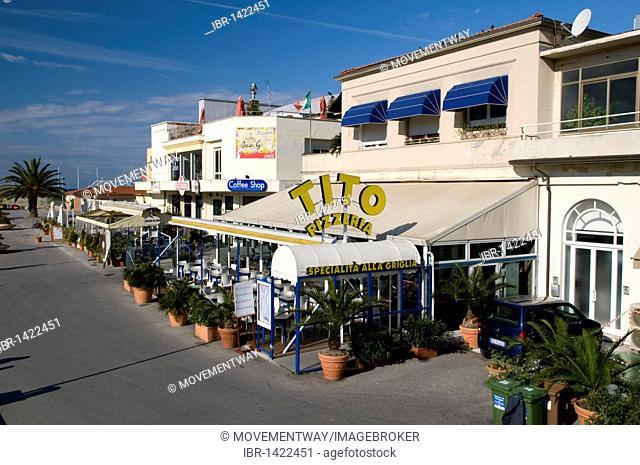 Pizzeria and restaurant in the harbour, Viareggio, Versilia, Riviera, Tuscany, Italy, Europe