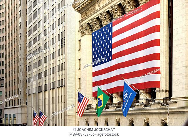 Wall Street, Lower Manhattan, New York Stock Exchange NYSE, New York City, Manhattan, USA