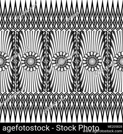 Artsy geometric pattern in black and white. Digital art