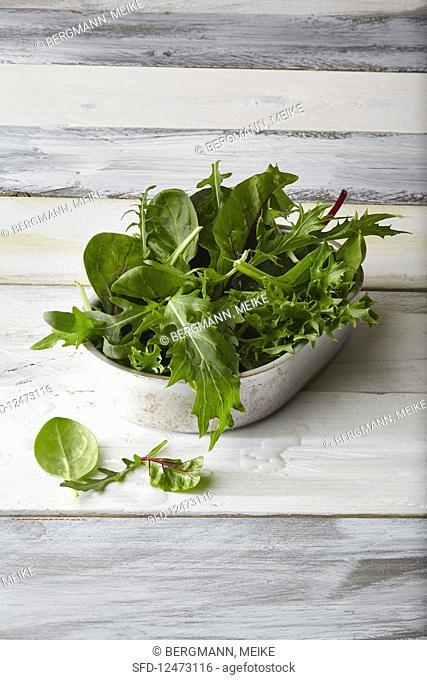A dish of fresh greens