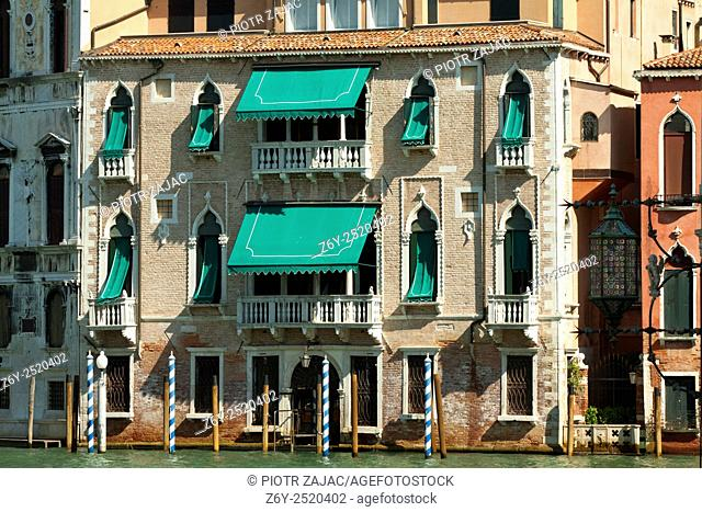 Facade of building at the Grand Canal in Venice, Italy