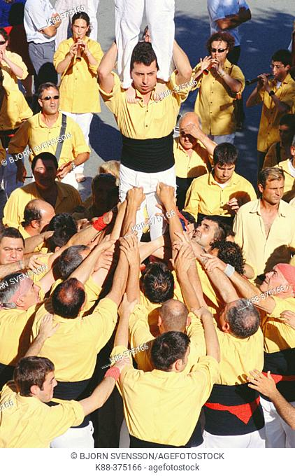 'Castellers' human towers builders, a Catalan tradition. Sant Pere de Ribes. Barcelona province, Spain
