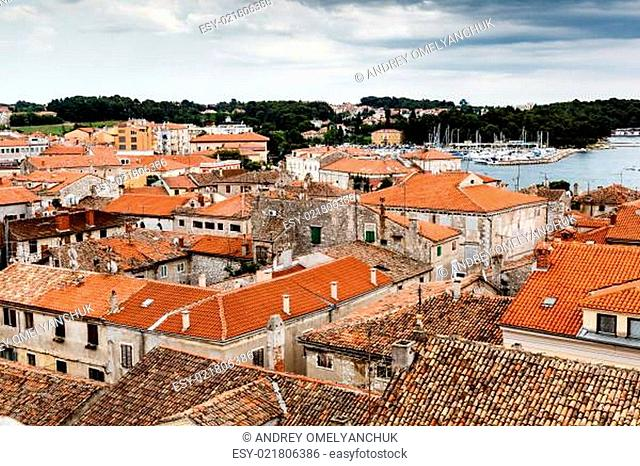 Panoramic View on Red Roofs of Porec, Croatia