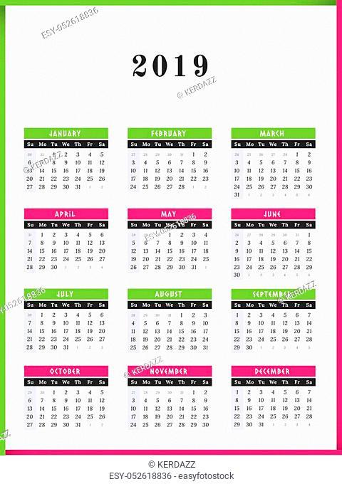 Calendar for year 2019 vector illustration color frame design