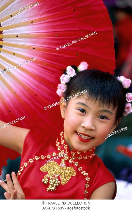 Young Girl / Child in Traditional Chinese Dress (Cheongsam), Beijing, China