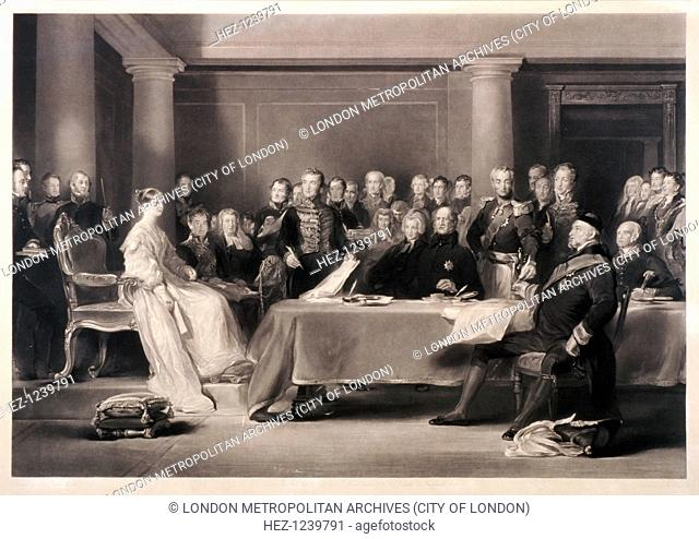 Queen Victoria presiding at the council on her accession to the throne, 1846. Kensington Palace, London