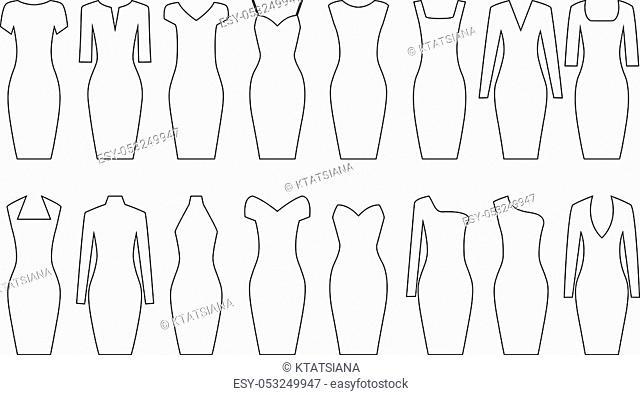 Set of woman dresses, vector illustration