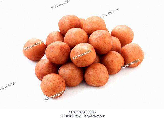 Traditional German Marzipan Potatoes Isolated On White