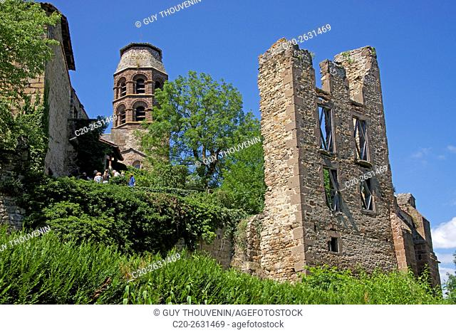 Ruins and benedictine abbey tower, along the Senouire river, at Lavaudieu, medieval village, 43, Auvergne, Haute Loire, France