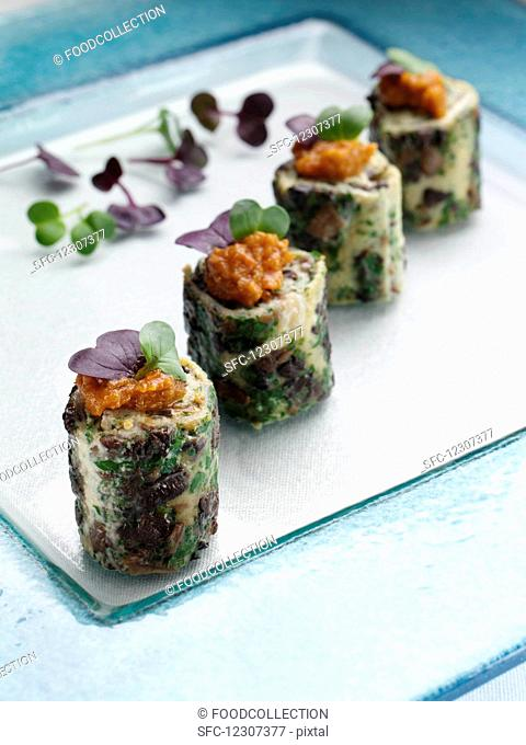 Mushroom frittata canapes editorial food