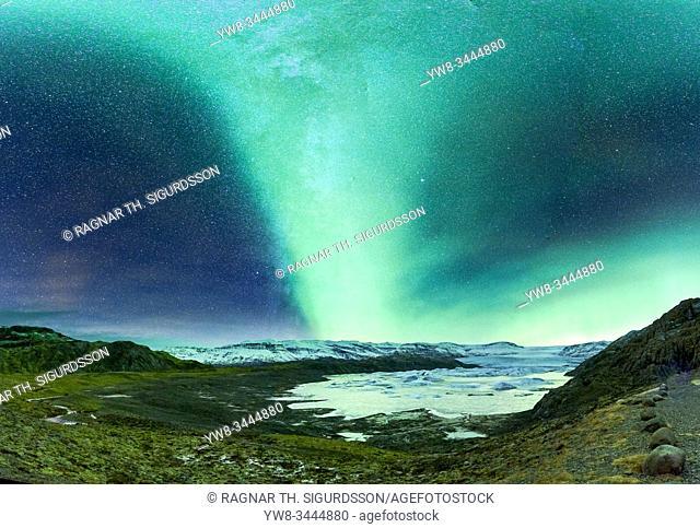 Aurora Borealis and the Milky Way, Hoffellsjokull Glacier, Iceland