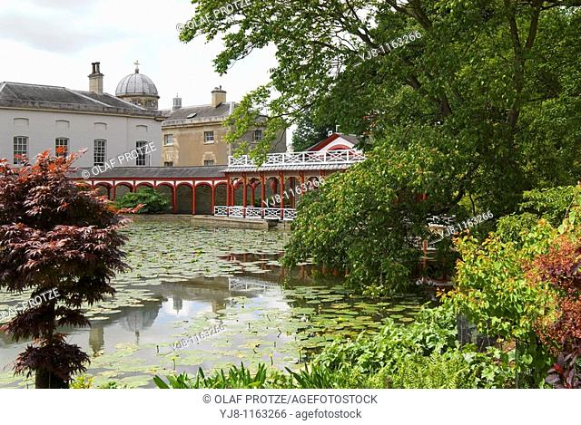 The Chinese Pond and house at Woburn Abbey and Gardens, near Woburn, Bedfordshire, England It is the seat of the Duke of Bedford and the location of the Woburn...