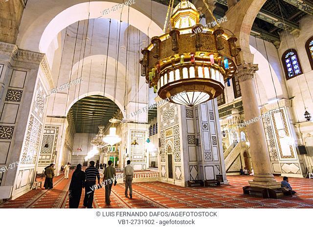 Interior of Umayyad Mosque Damascus Syria