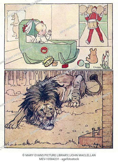 Nursery Rhymes -- two illustrations. Above -- a royal baby in a cradle is entertained by a drummer. Below -- an old lion lies on the ground
