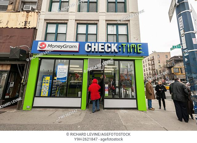 The newly remodeled branch of Check:Time in the Williamsburg neighborhood of Brooklyn in New York. The six store financial services company located in Brooklyn...