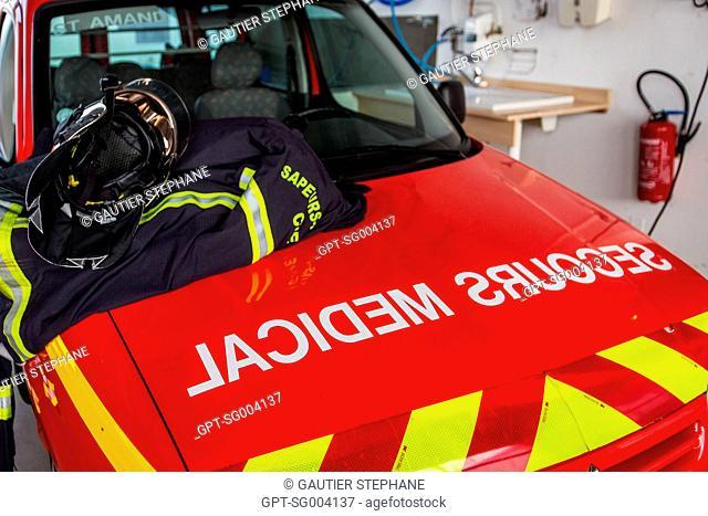 FIRE DEPARTMENT MEDICAL AMBULANCE, SAINT AMAND MONTROND, CHER (18), FRANCE