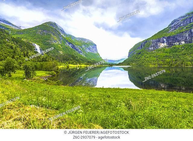 Lake Espeland and Espelandfalls, Espeland valley, county Hordaland, Norway, Scandinavia